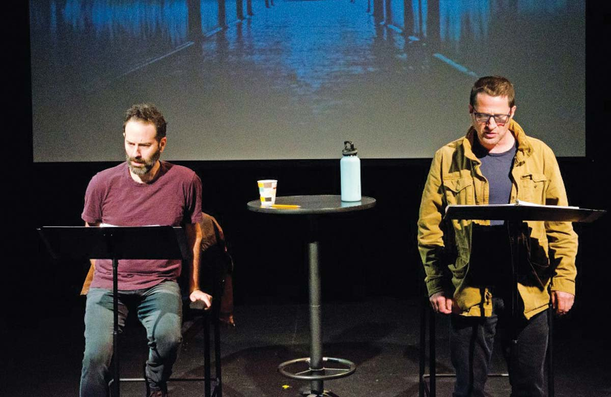 Dan O'Brien (left) and Tim Guinee in a workshop at the Playwrights' Center in Minneapolis in October 2019 for O'Brien's play New Life. Photo: Paula Keller