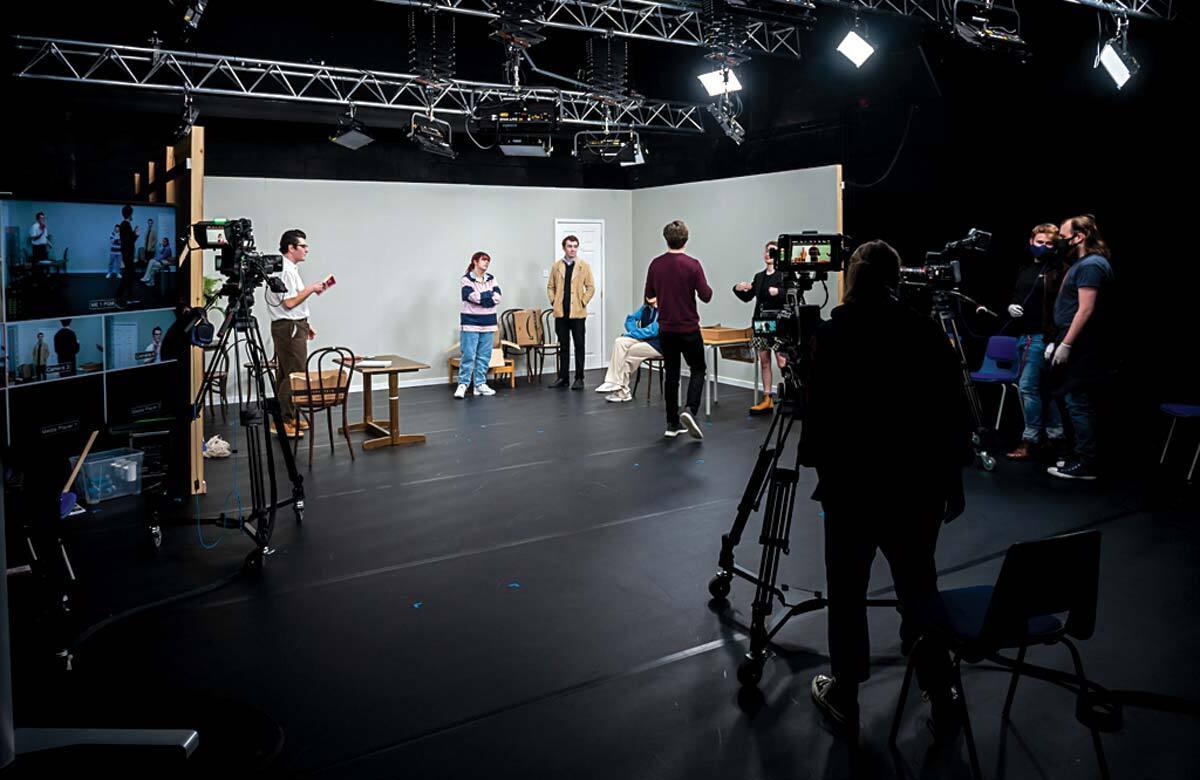 LIPA Acting (Screen and Digital Media) students working on sitcom scenes. Photo: Brian Roberts/LIPA