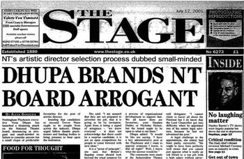 National Theatre under fire for recruitment process – 20 years ago in The Stage