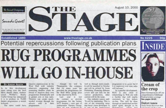 Lloyd Webber takes programmes in-house and ticketing online – 21 years ago in The Stage