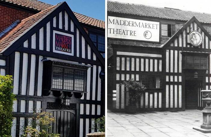 The Maddermarket Theatre in Norwich today (left) and an archive photo