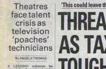 Theatre faces technical talent exodus – 35 years ago in The Stage