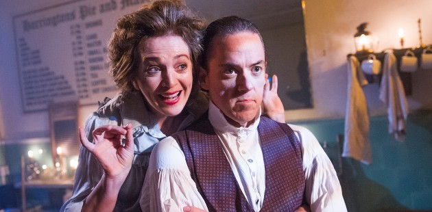 Siobhan McCarthy and Jeremy Secomb in Sweeney Todd at Harrington's Pie and Mash in Tooting. Photo: Tristram Kenton