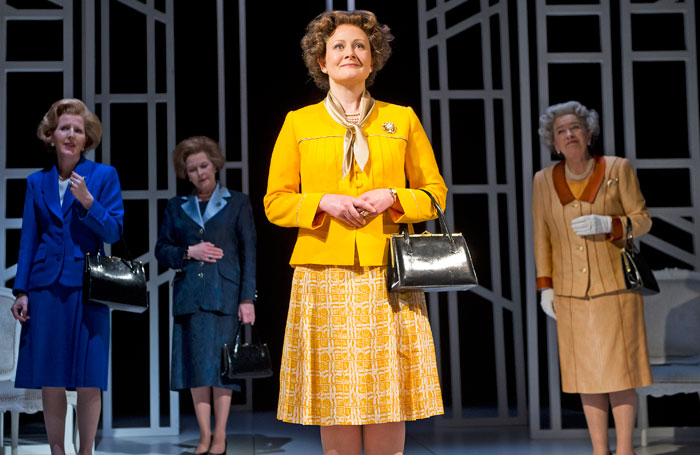 Fenella Woolgar, Stella Gonet, Lucy Robinson and Marion Bailey in Handbagged by Moira Buffini @ Vaudeville Theatre. directed by Indhu Rubasingham.