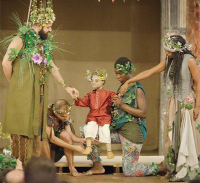 Deafinitely Theatre's production of A Midsummer Night's Dream at Shakespeare's Globe in 2014. Photo: Simon Kane