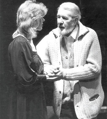 Michael Redgrave as King Lear, with daughter Vanessa, at the Roundhouse in 1982, his final role