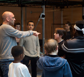 Sean Holmes directing the cast of Bugsy Malone, now running at the Lyric Hammersmith. Photo: Dan Hipkin