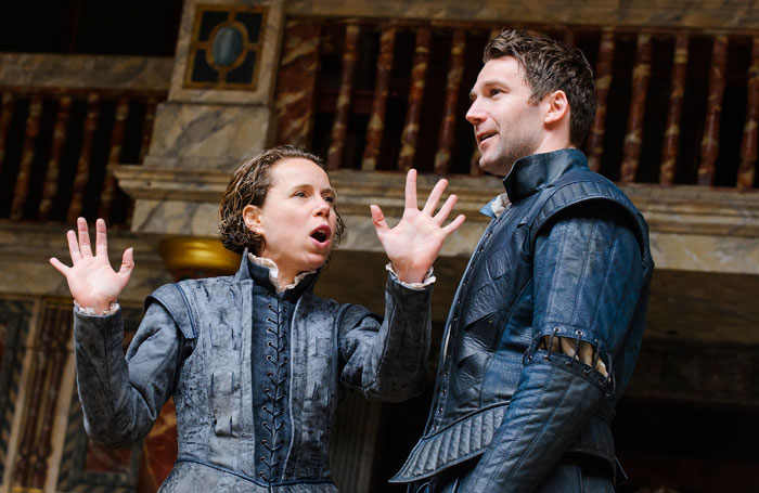 Michelle Terry and Simon Harrison in As You Like It at Shakespeare's Globe, London. Photo: Tristram Kenton