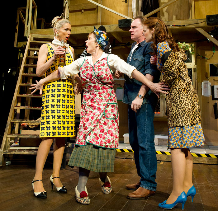 Janie Dee, Celia Imrie, Robert Glenister and Amy Nuttall in Frayn's Noises Off at the Old Vic in 2011. Photo: Tristram Kenton