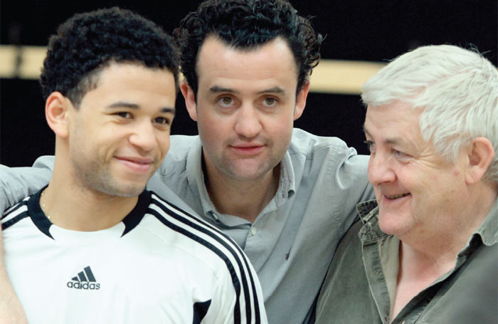 Calvin Demba, Daniel Mays, and Peter Wight in rehearsals for The Red Lion. Photo Catherine Ashmore