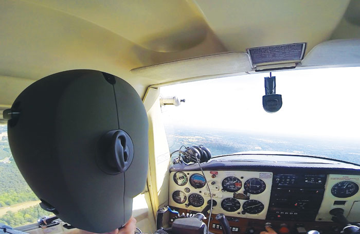 The binaural head records the sounds of a Cessna aircraft. Photo: Gareth Fry