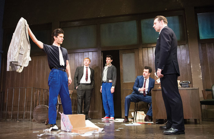 Ben Whishaw, Rupert Grint, Colin Morgan, Daniel Mays and Brendan Coyle in Mojo at the Harold Pinter Theatre in 2013. Photo: Tristram Kenton