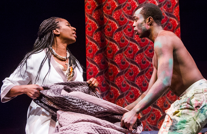 Tanya Moodie and Paapa Essiedu in Hamlet at the Royal Shakespeare Theatre.. Photo: Tristram Kenton