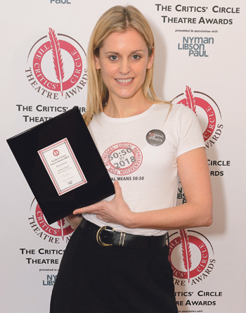 Denise Gough with her award for best actress at the Critics' Circle Theatre Awards earlier this year. Photo: Stephen Pover