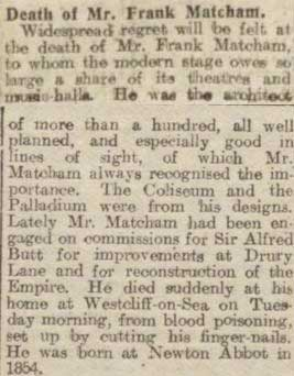 The Stage reports on Matcham's death in 1920