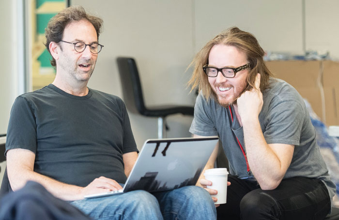 Tim Minchin (music, lyrics) (right), with Danny Rubin (book) in rehearsal for Groundhog Day. Photo: Manuel Harlan