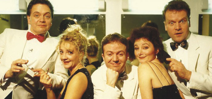 Original cast of the revue in 1994, from left to right: McKee, Debra Gillett, Luscombe, Abigail McKern and David Delve