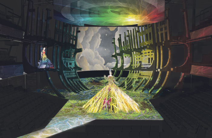 """Brimson Lewis' design for the masque scene, including (top) the circular screens that spiral down to form """"the cloud"""""""