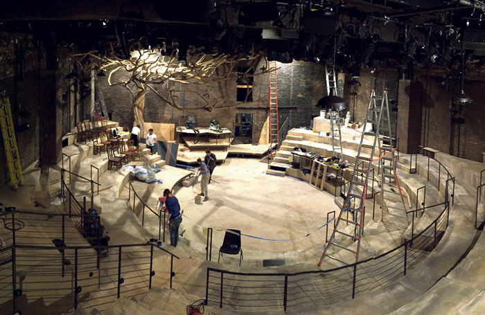 For Hadestown, NYTW knocked down its proscenium arch to form a wooden amphitheatre. Photo: New York Theatre Workshop