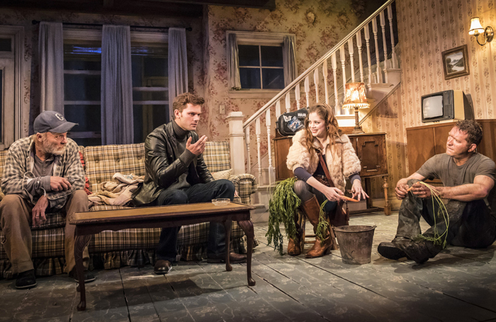 Ed Harris, Jeremy Irvine, Charlotte Hope and Barnaby Kay in Buried Child, Trafalgar Studios. Photo Johan Persson
