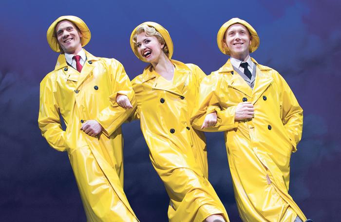 Adam Cooper, Strallen and Daniel Crossley in Singin' in the Rain at the Palace Theatre, London, in 2012. Photo: Tristram Kenton