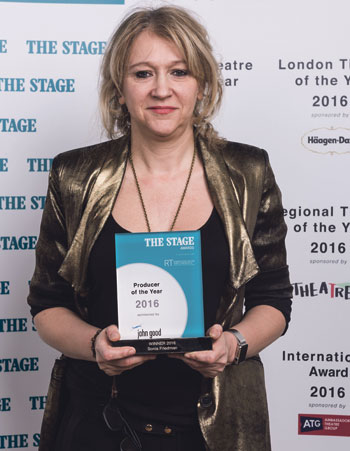 Sonia Friedman, winner of producer of the year, at TheStageAwards 2016. Photo: Alex Brenner