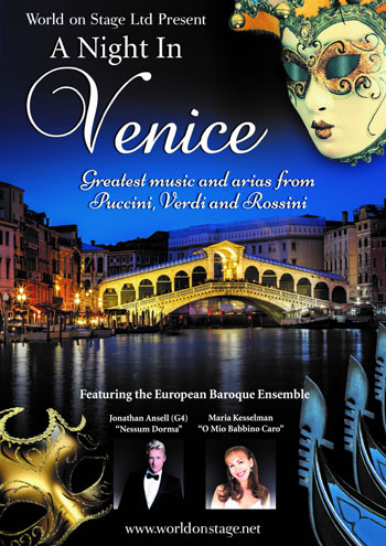 The poster for A Night in Venice with Jonathan Ansell